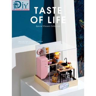 Nhà búp bê DIY TASTE OF LIFE gồm nội thất và đèn LED (Kèm MICA + dụng cụ keo) – Quà tặng tự làm bằng gỗ