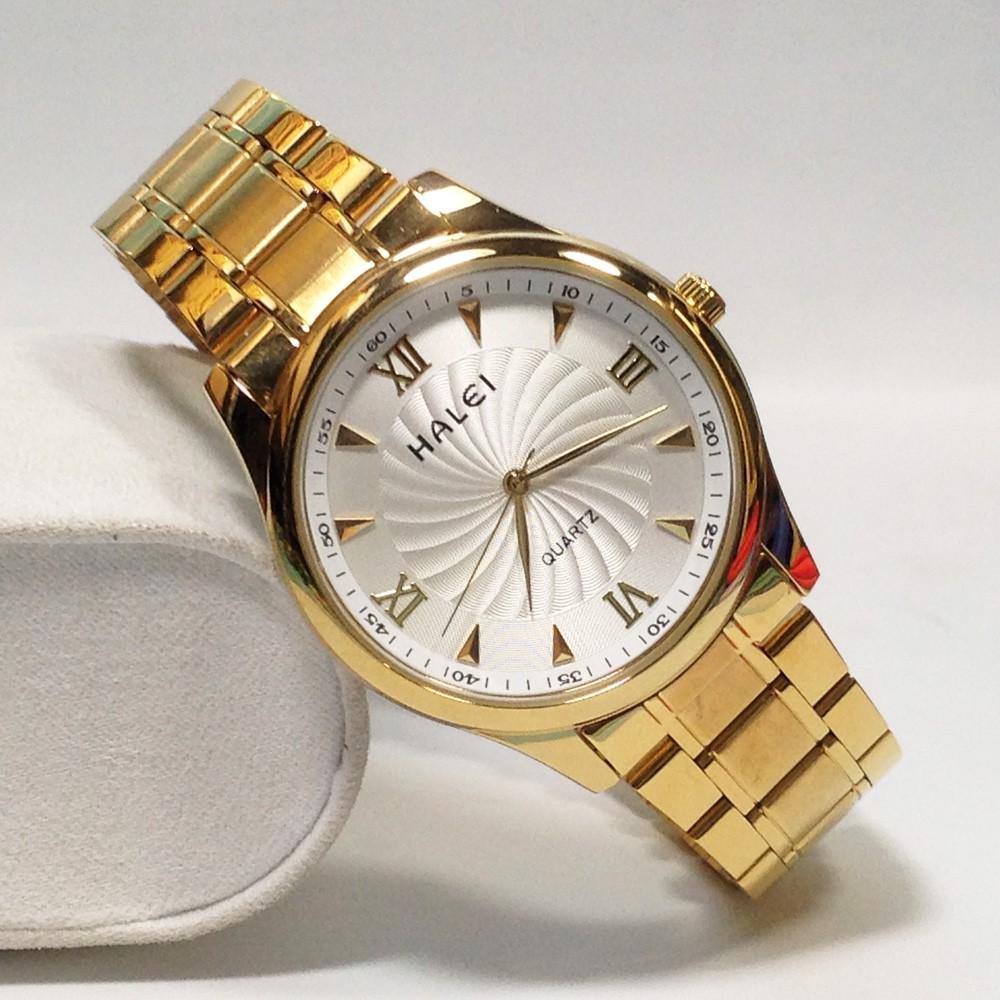 Đồng hồ nam HALEI 66666G (vàng) chống nước dây thép