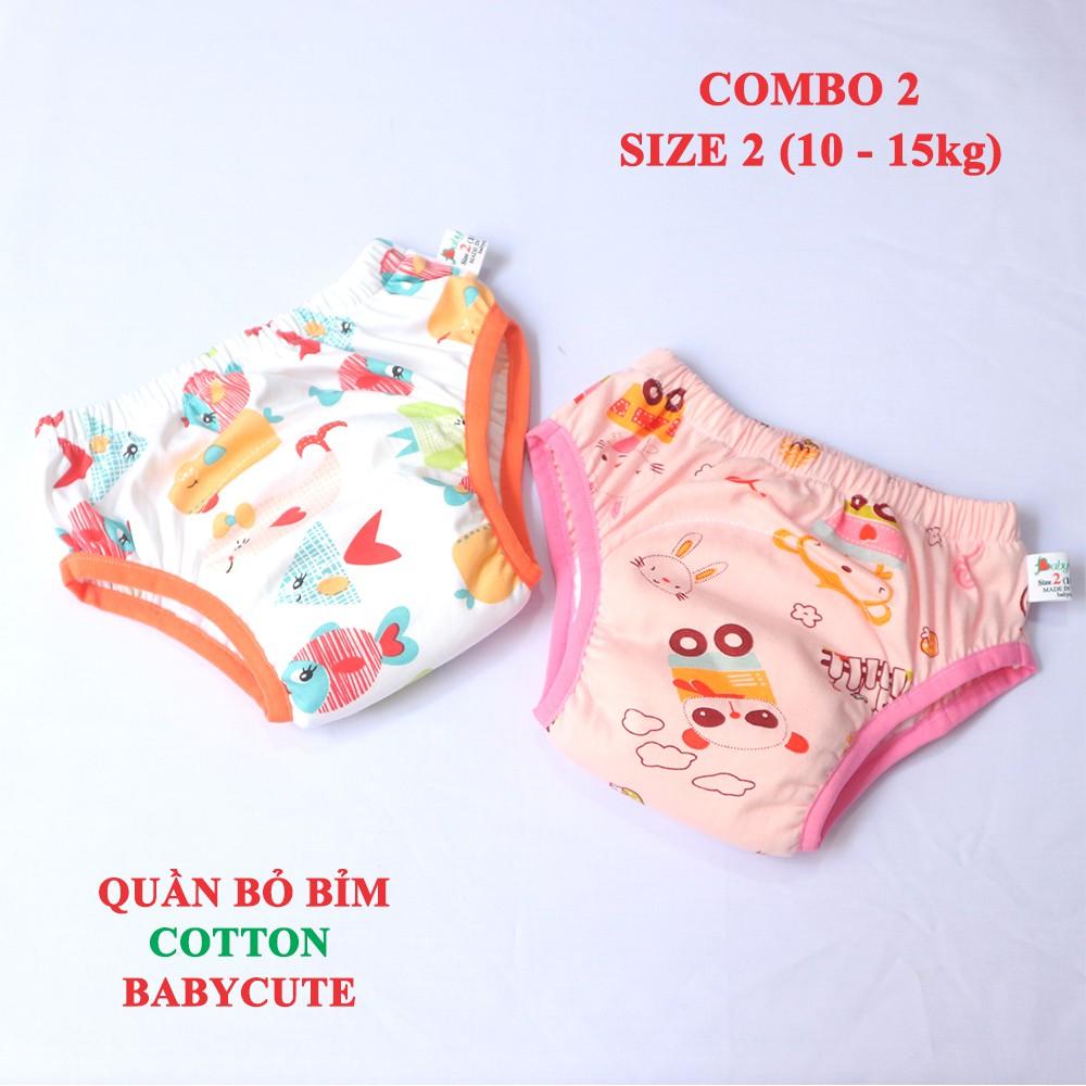 Combo 2 Quần bỏ bỉm Cotton BabyCute size 2 (10 - 15kg) - Giao mẫu ngẫu