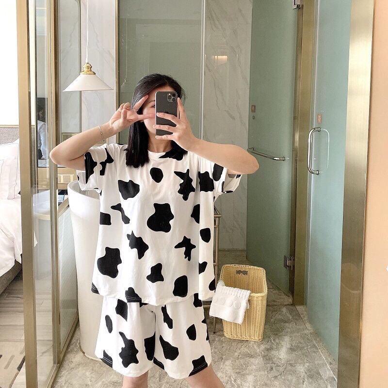 Bộ đùi cộc tay bò sữa, Áo thun tay lỡ kèm quần short  Unisex