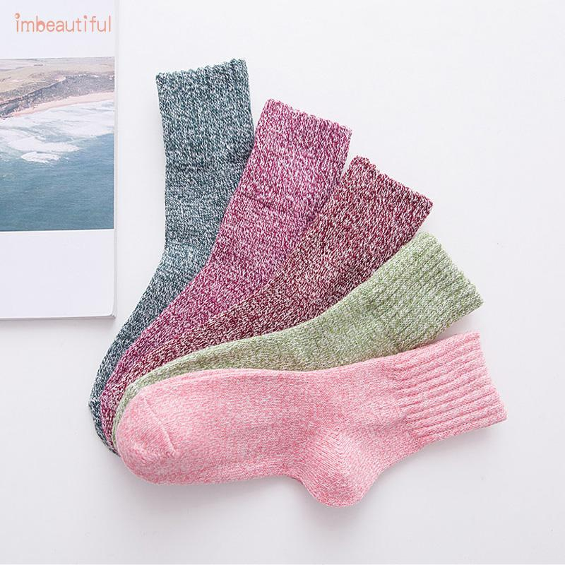 Socks Wool Blends Winter Thick Solid Woolen 5 Pairs 5Colors Breathable Retro Cashmere Sports Women Casual Gift