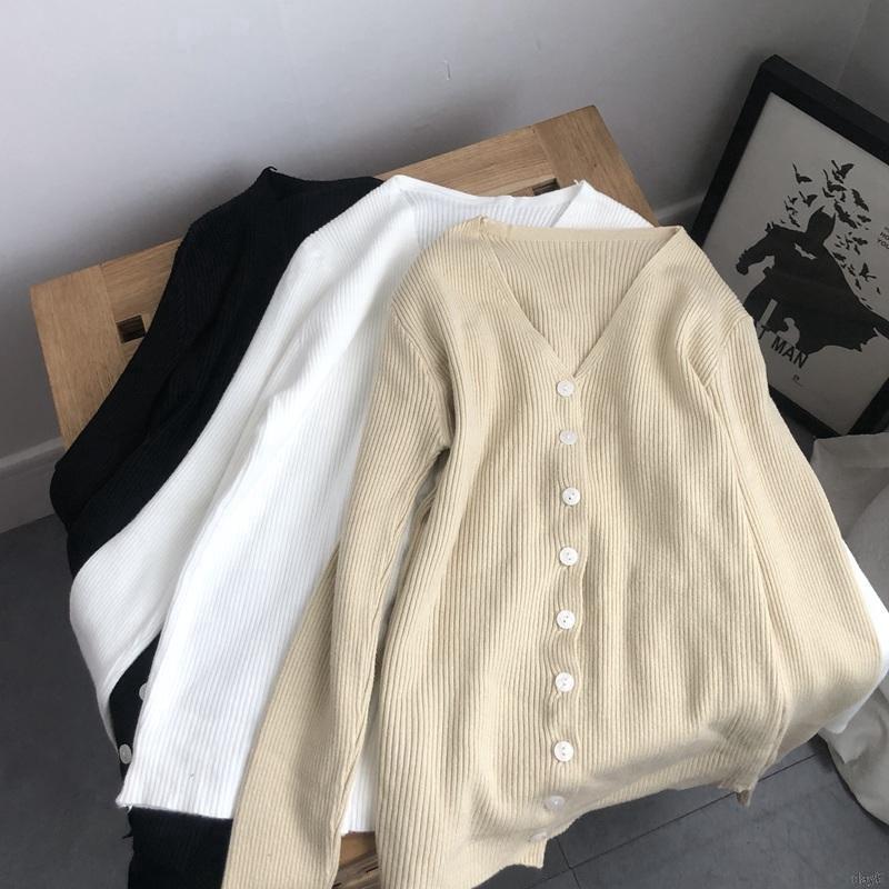 Áo Cardigan dệt kim tay dài phong cách Hàn Quốc