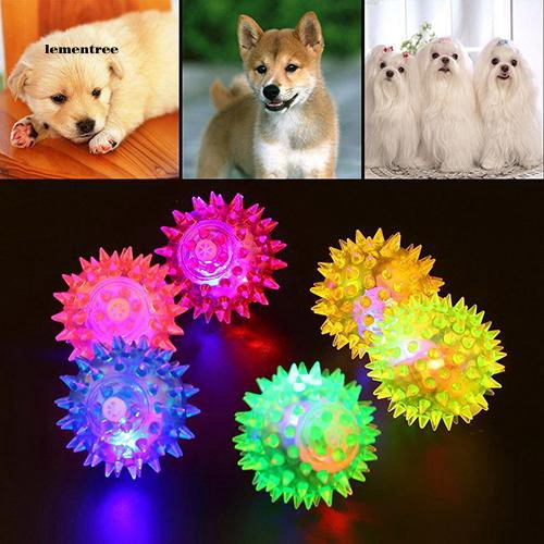 [LE]Dog Puppy Cat Pet LED Squeaky Rubber Chewing Bell Ball Hedgehog Fun Toys