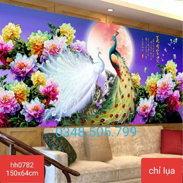Tranh thêu chữ thập CHỈ LỤA chim công Phú Quý Bình An 150x64cm hàng có sẵn