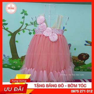 Đầm công chúa cho bé ❤️FREESHIP❤️ Đầm công chúa hồng cam hoa cuốn hồng phấn cho bé