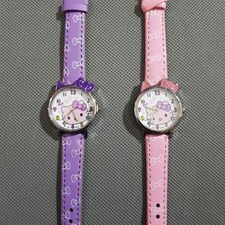 Đồng hồ kitty nơ tím hồng xinh xắn cho bé gái