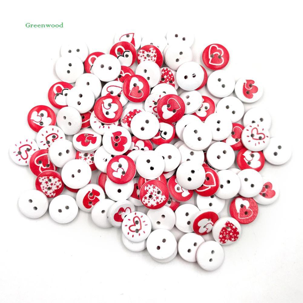 GREEN   100Pcs Round Love Heart Wooden Buttons Sewing Scrapbooking Cards Craft DIY Decor