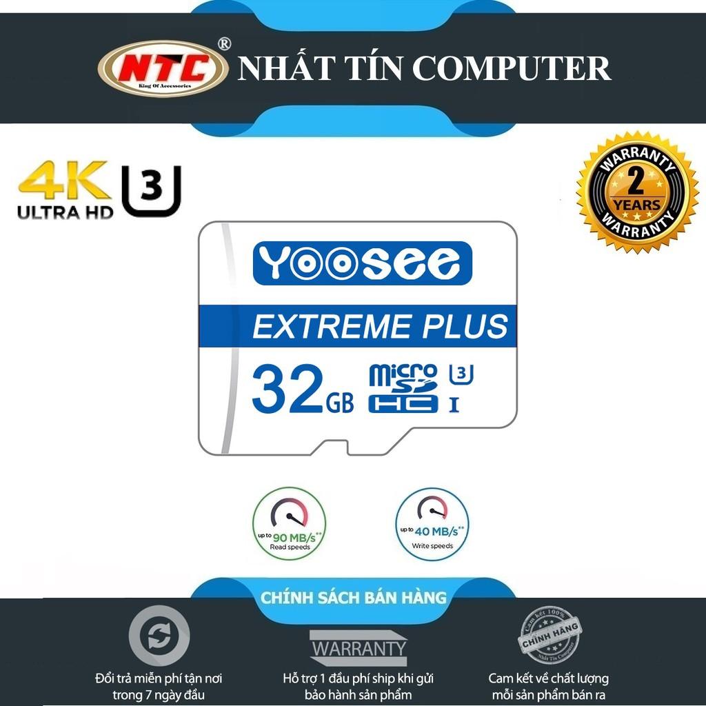 Thẻ nhớ microSDHC Yoosee Extreme Plus 32GB UHS-I U3 4K R90MB/s W40MB/s (Trắng xanh) - chuyên camera và điện