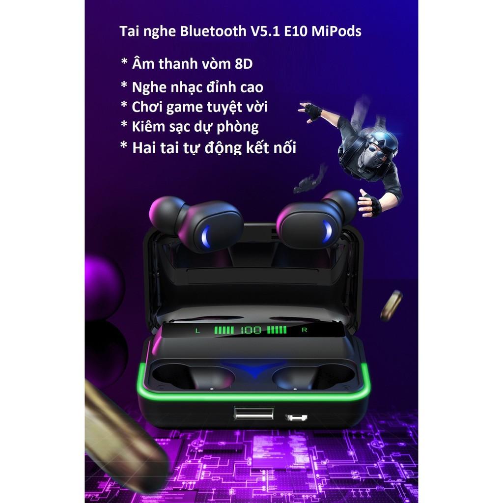 Tai nghe Bluetooth E10 MiPods V5.1 kết nối tự động 2 tai âm thanh vòm 8D  Hifi, tai nghe game - Tai nghe Bluetooth nhét Tai Nhãn hàng miPods