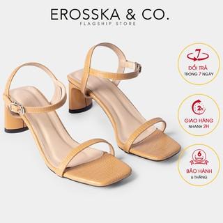 Giày sandal cao gót Erosska mũi vuông phối dây quai mảnh cao 5cm màu nude - EB025