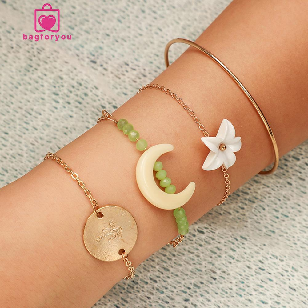 bagforyou❄4pcs/set Retro Lily Flower Bracelet Boho Moon Women Charm Bangle Jewelry