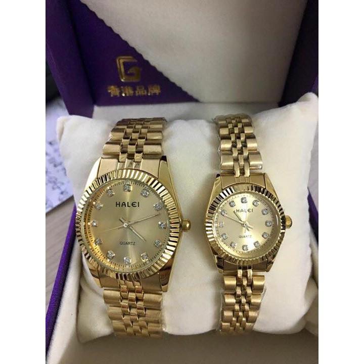 Đồng hồ cặp đôi Halei máy Nhật mạ vàng không gỉ chống nước chống xước tuyệt đối Tony Watch 68