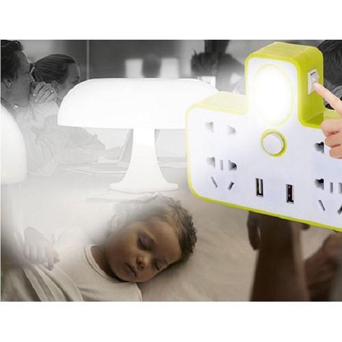 Ổ cắm điện đa năng kèm đèn ngủ và 2 cổng cắm usb