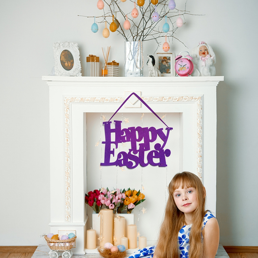 Non-woven Fabrics Layout Party Gift Felt Happy Easter Signs DIY Home Decoration Hanging Ornament