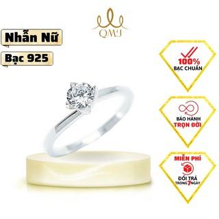Nhẫn bạc QMJ Trơn xoắn ổ đá chủ đơn giản, bạc 925 cao cấp - Q173 thumbnail