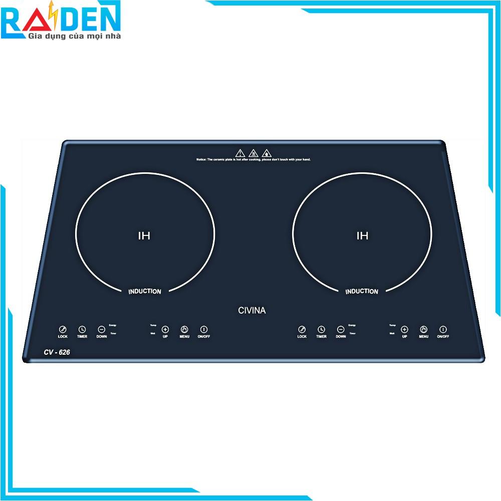 [Mã ELHAF1TR5 giảm tối đa 1TR ] Bếp âm, bếp điện từ đôi mặt kính cường lực CIVINA CV-626