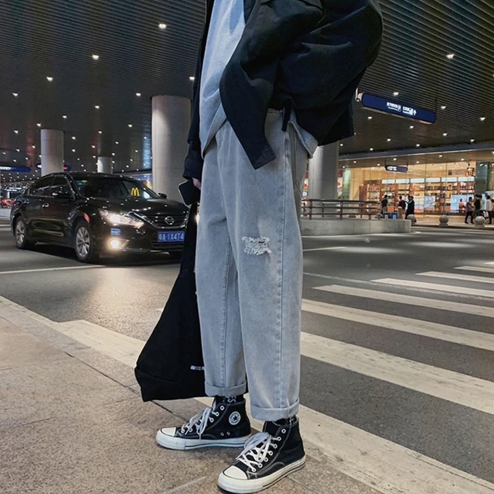 Quần Jean Baggy Rách Nam Ống Rộng Màu Xanh Hàn Quốc Hot Trend 2020-B04