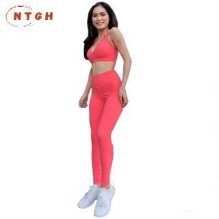 Bộ Quần Áo Tập Gym, Yoga, thể thao nữ thun co giãn màu cam đỏ có mút ngực thời trang mẫu mới 2020