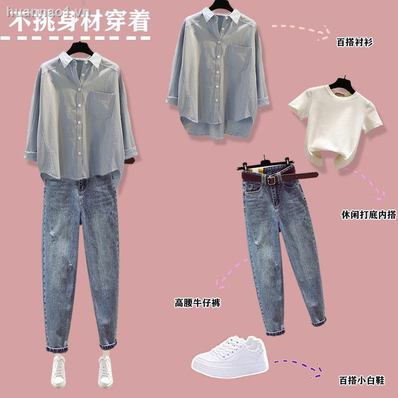 Kích thước lớn đồ bộ nữ thu đông nữ 2021 áo mới, áo khoác dạ nữ mỏng Bộ quần jean nữ ba lỗ [ship hàng trong vòng 15 ngày]