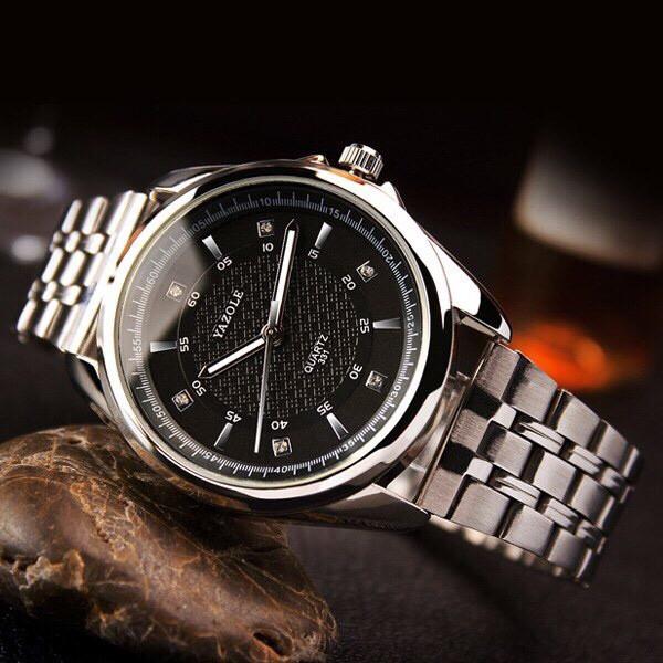 Đồng hồ nam YAZOLE 331 dây kim loại chính hãng cao cấp Fullbox chống nước tốt AH476