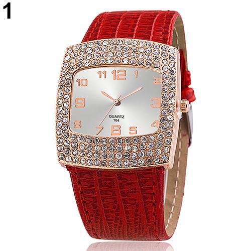 Đồng hồ dây đeo giả da đính đá lấp lánh cho nữ
