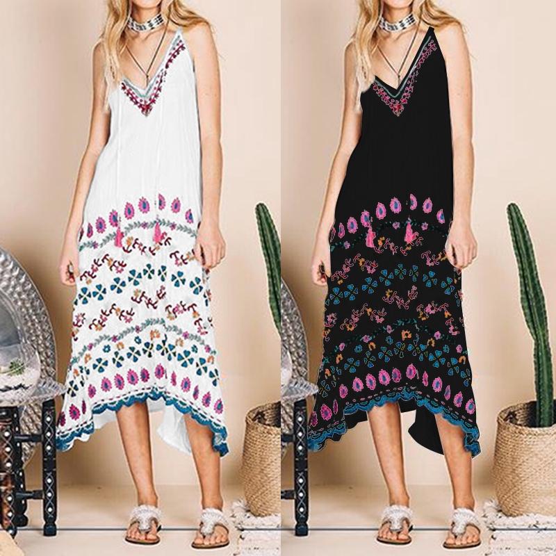 CELMIA Plus Size Women Beach Dress Summer Floral  Midi Sundress