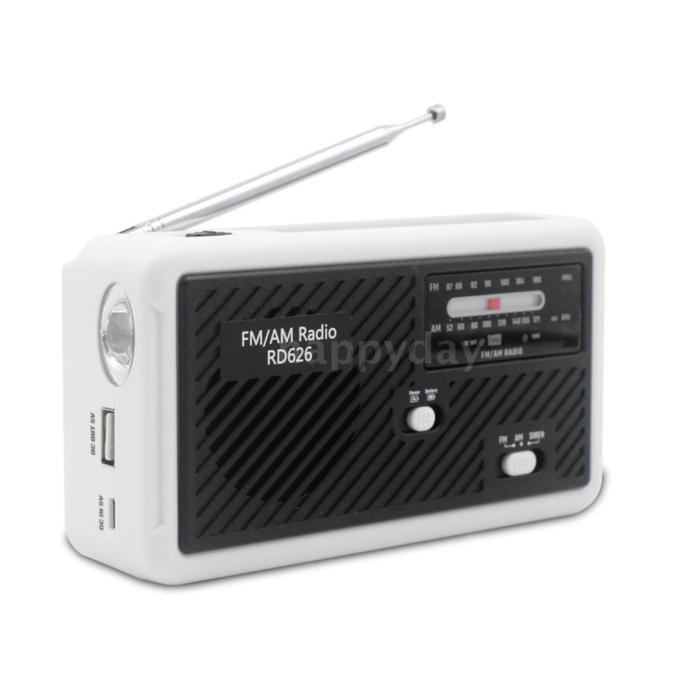 【H&D】RD626 FM AM Dual-band Digital Radio Power Bank 1000mAh Rechargeable Battery Solar Hand-crank Emergen