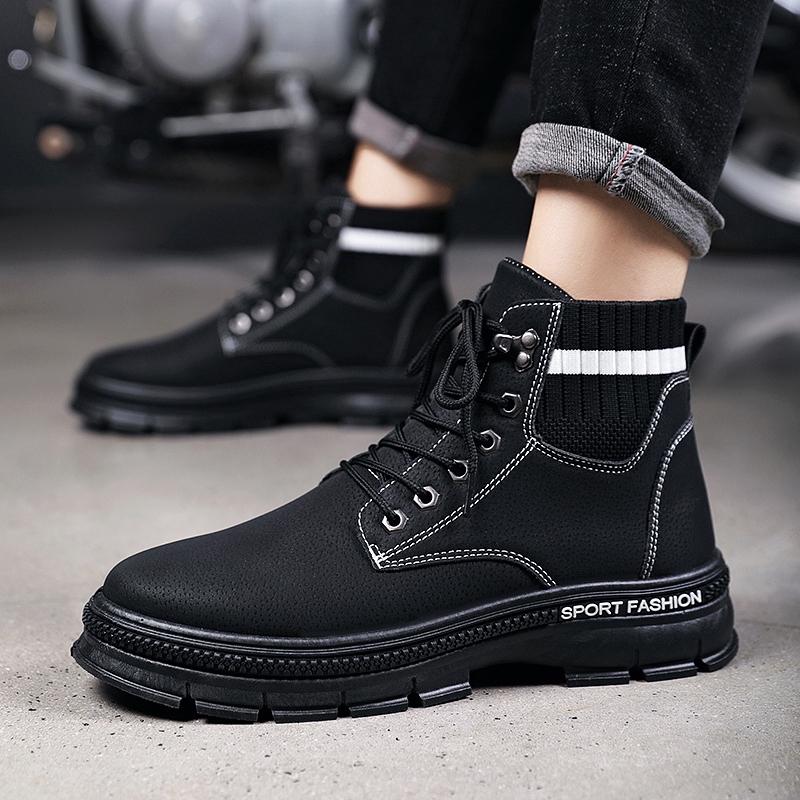 ready stock Men Boots Autumn Winter boots Shoes Warm Ankle boots Men's Shoes Boots Ankle Biker