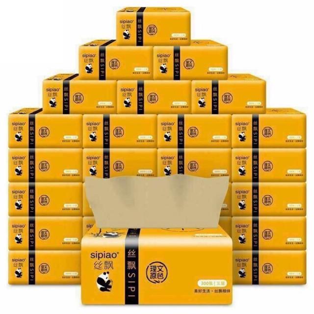 💕 Giấy ăn gấu trúc siêu dai SIPIAO thùng 27 gói.