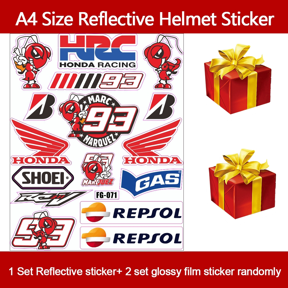 1 Set Reflective MotoGP  #93 Fan Racing Funy Helmet Motorcycle Stickers Car Styling Decals+2PCS Randomly Amazing Sticker