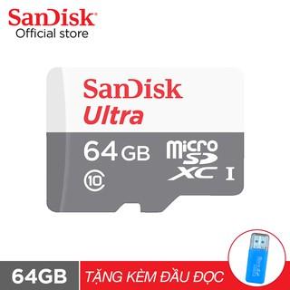 [Mã ELWDSD giảm 7% đơn 150K] Thẻ nhớ micro SDXC Sandisk 64GB upto 80MB/s 533X Ultra UHS-I tặng đầu đọc thẻ