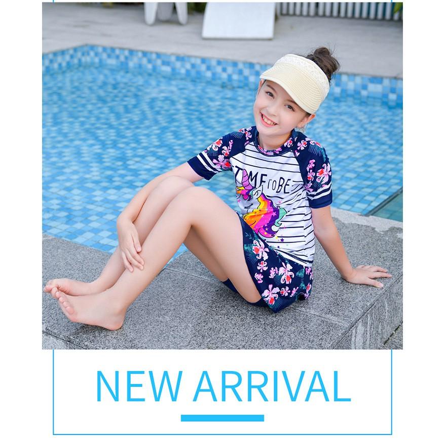 [Mã FAMTXANH giảm 10K đơn 50K] Áo bơi bé gái công chúa kỳ lân kèm nón bơi (size 15-40kg) (đồ liền thân)