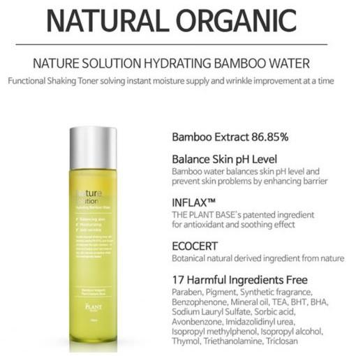 Nước hoa hồng dưỡng ẩm The Plant Base Nature Solution Hydrating Bamboo  Water | Shopee Việt Nam