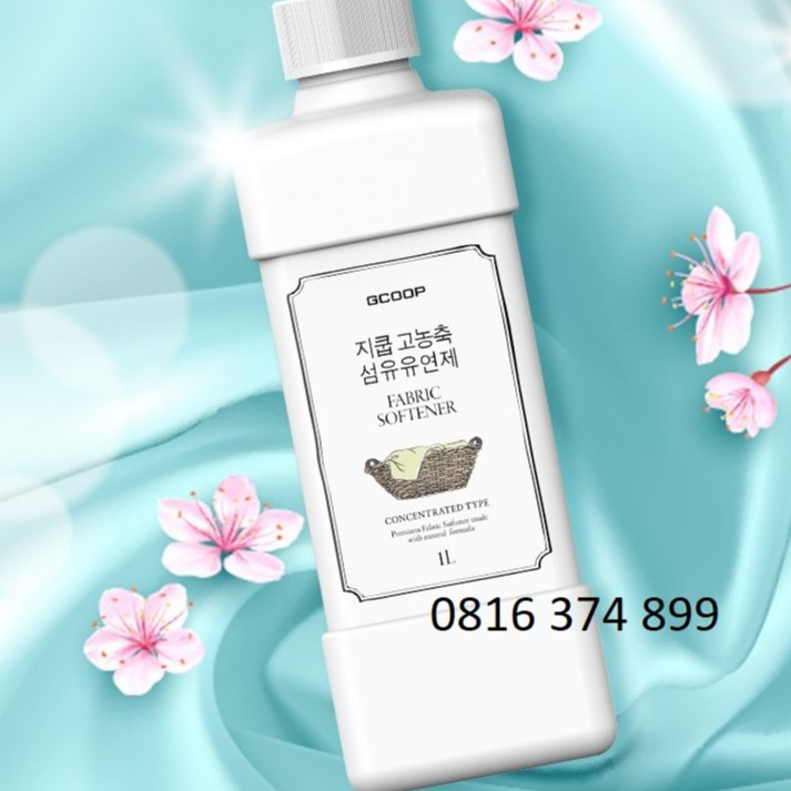 Nước xả vải hữu cơ Hàn Quốc - Đậm đặc siêu tiết kiệm - Chai lớn 1L Fabric Softener