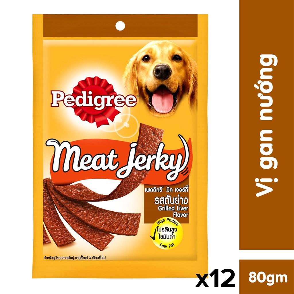 Bộ 12 thức ăn vặt cho chó Pedigree Meat Jerky vị gan nướng 80gr