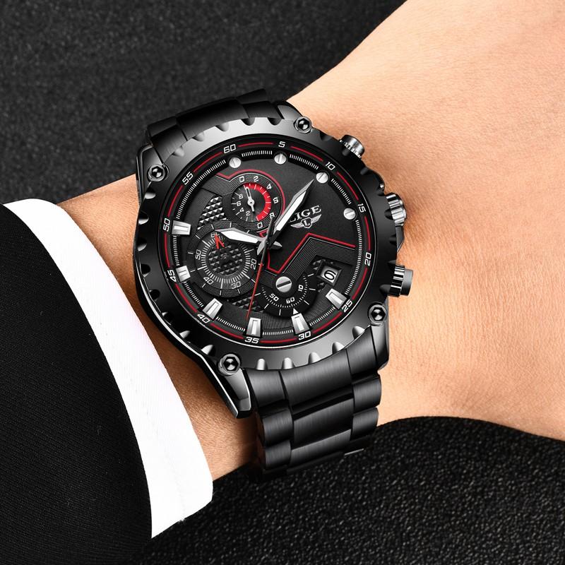 Men's Watch LIGE9821 Black Stainless Steel Waterproof Quartz