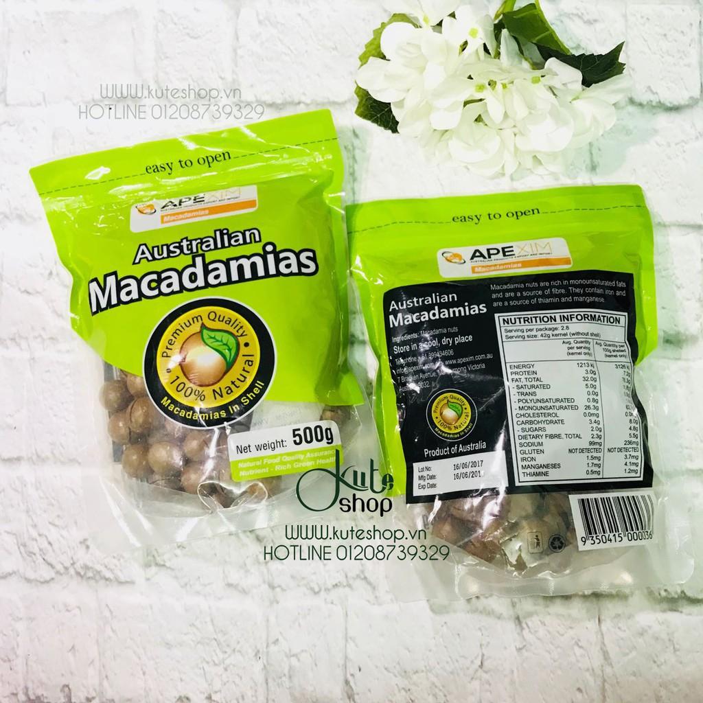 {Date 06/19} Hạt mắc ca nứt vỏ Úc Apexim Australian Macadamias 500g