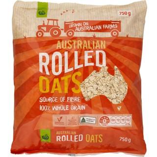 Yến mạch hàng nội địa úc Woolworths Australian Rolled Oats 750g cán đôi – yến mạch ăn liền