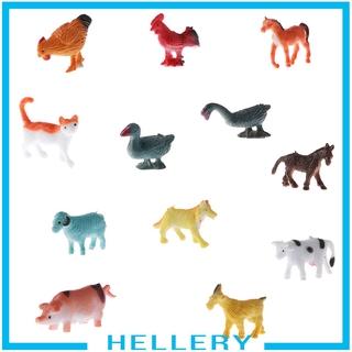 [HELLERY] 12pcs Plastic Farm Animals Dog Cow Horse Sheep Cat Model Figures Kids Toys