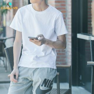 【cr】Men's Short-sleeved T-shirt Loose Round Neck Bottoming Shirt Pure Color Casual