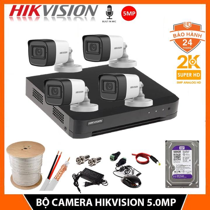 [Chính hãng] Bộ Camera Giám sát HIKVISION 5.0MP CÓ MIC - Kèm HDD 500GB + đầy dủ phụ kiện tự lắp đặt-Bảo hành 24 Tháng