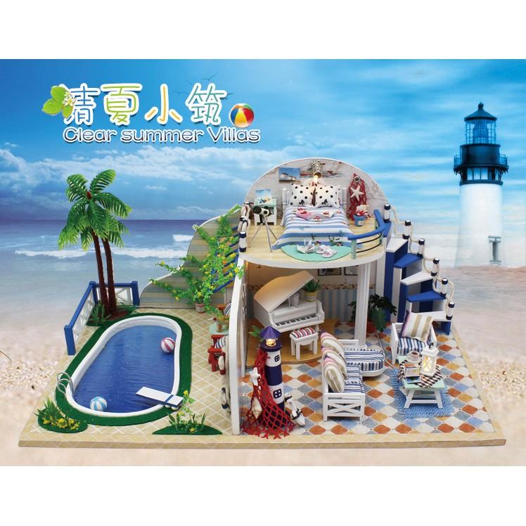 Mô hình biệt thự mùa hè nhà búp bê DIY Clear Summer Villa - đảo Santorini mẫu 2
