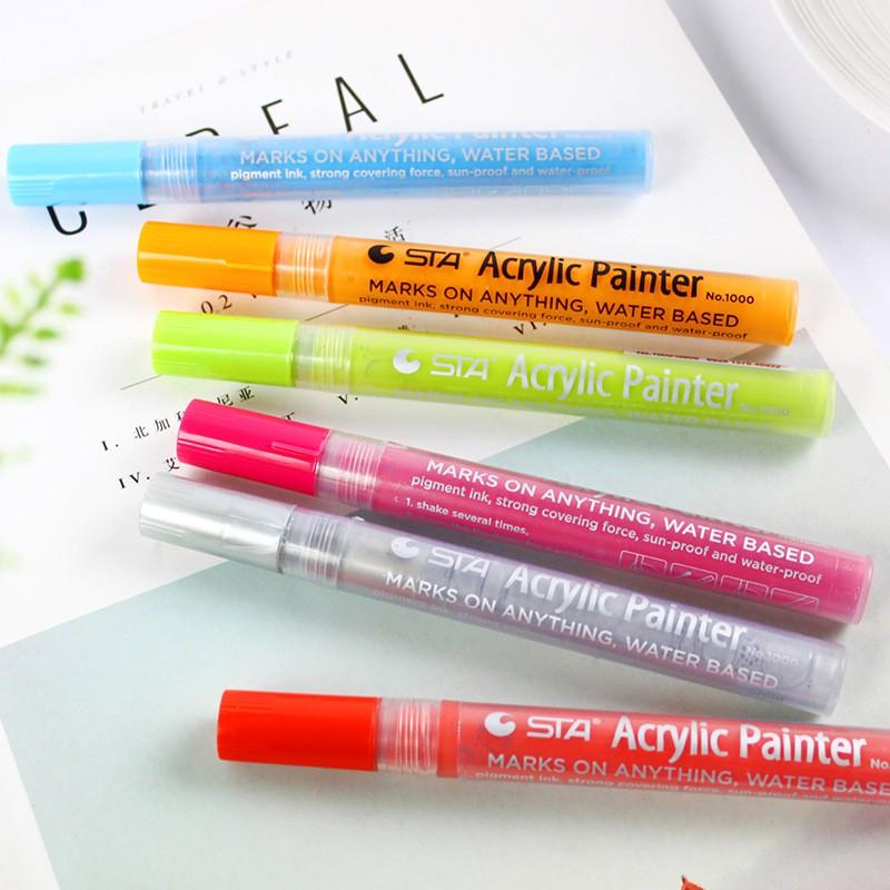 Bộ Bút Sơn Acrylic STA Painter 12/24 Màu (vẽ vải, kính, giấy...)