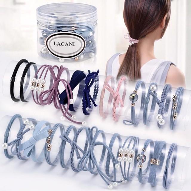 Set 12 dây buộc tóc mềm Hàn Quốc kèm hộp ( Loại đẹp )
