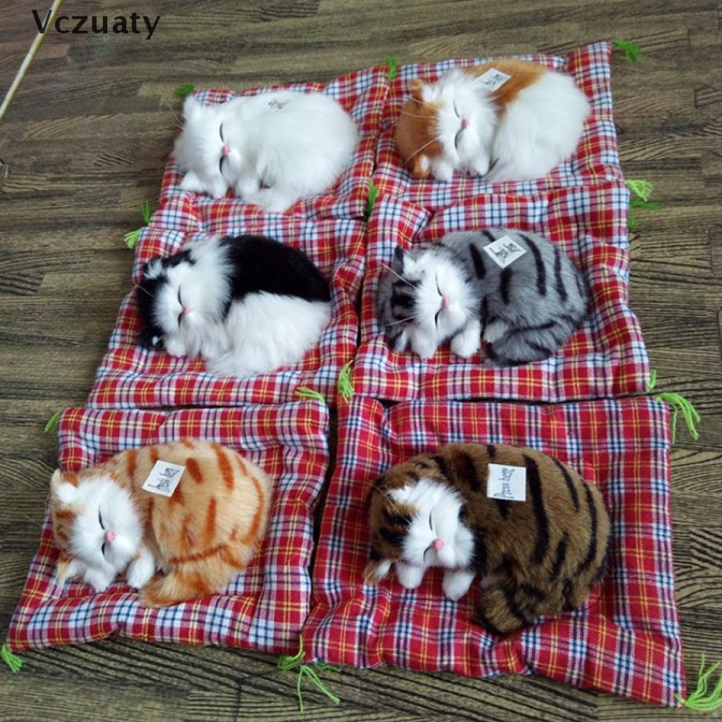 Vczuaty Simulation Stuffed Cats Home Decorations Toys Lovely Animal Doll Plush Lazy Toy VN
