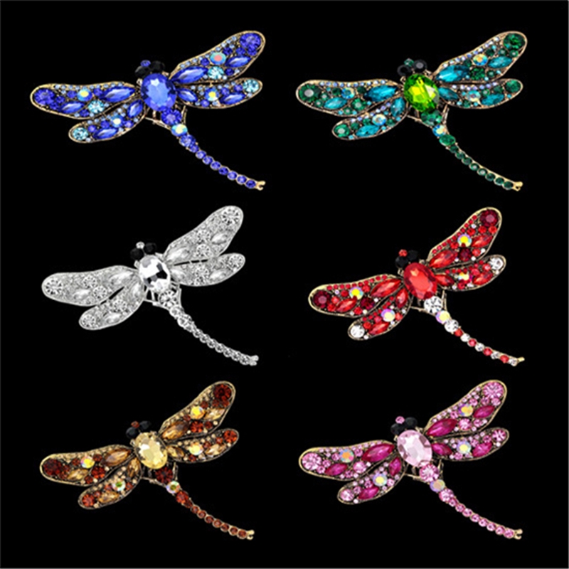 Vintage for Women Crystal Jewelry Rhinestone Shinny Accessories Brooches Brooch Dragonfly 1Pcs