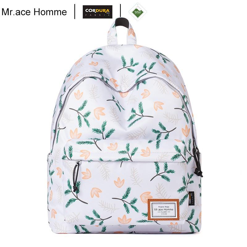 Balo Thời Trang Casual 14inch Mr.ace Homme MR18A1029B01 / Trắng phối hoa vàng