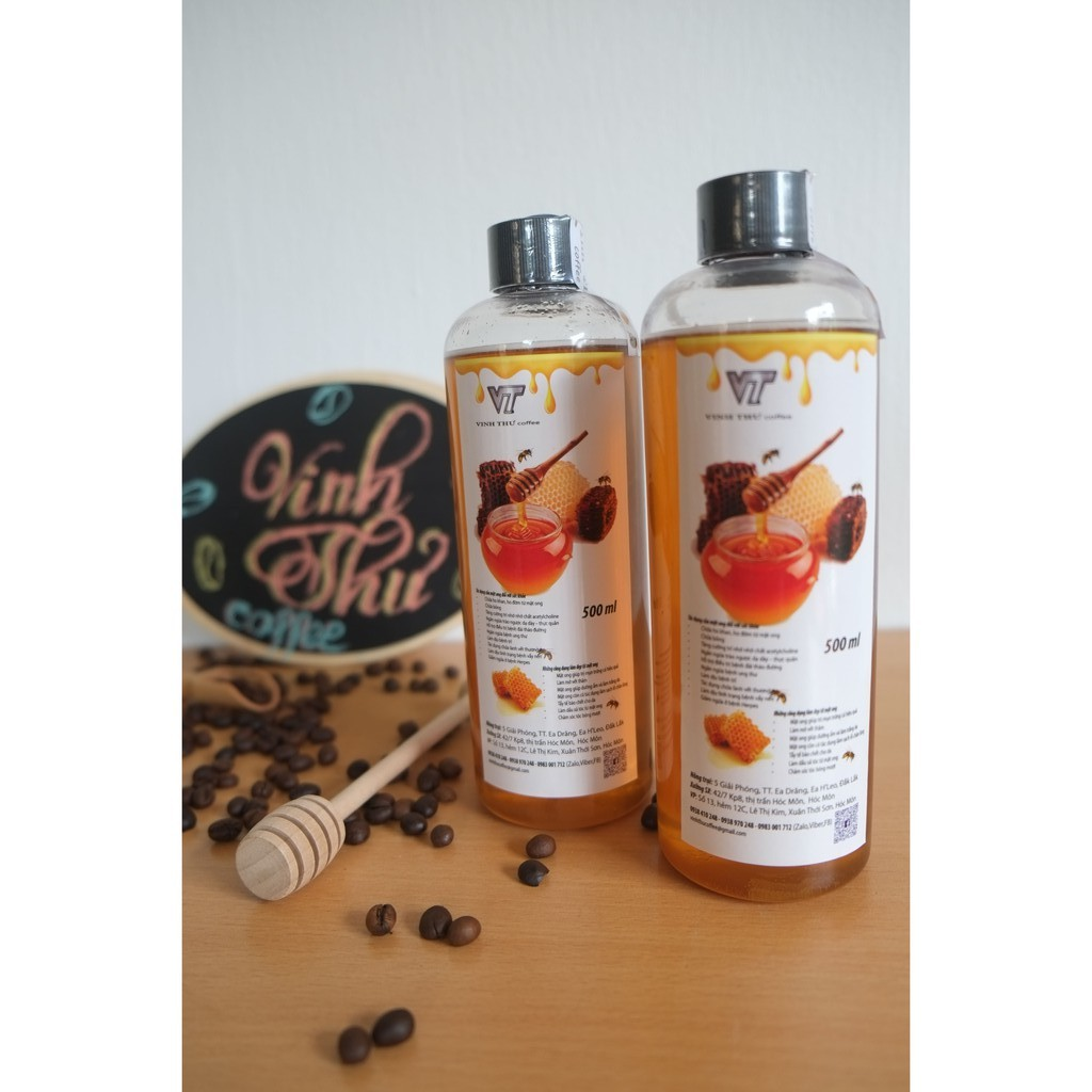 1 lít – Mật ong hoa cà phê nguyên chất 100% (02 chai 500ml -- 1400gr) – Vinh Thư coffee – H1