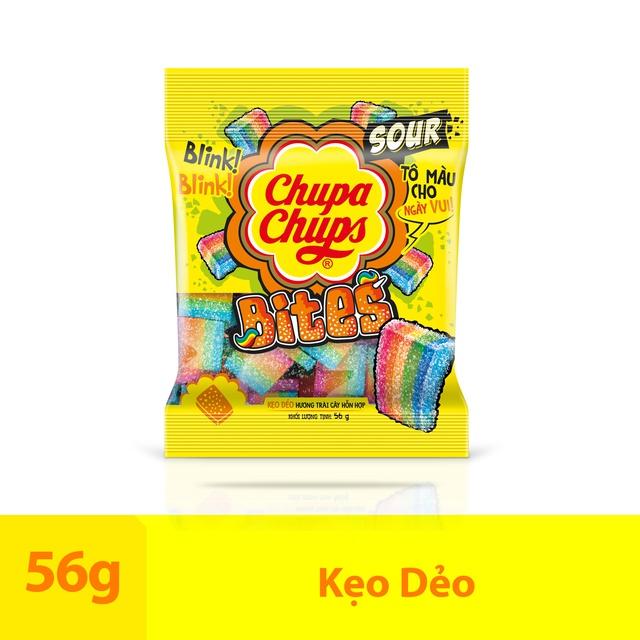 [Mã GRO1CHUPS11 giảm tối đa 20K đơn 99K] Kẹo dẻo Chupa Chups Sour Bites hương trái cây loại gói 56g