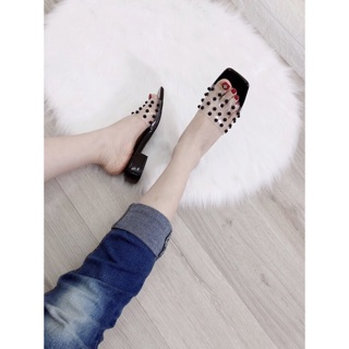 [Sỉ lẻ Giày dép VNXK] Dép guốc 2p quai trong đính hột dễ đi xịn đẹp thumbnail